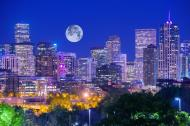 Full moon over Denver, Colorado, U.S.