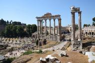 Ruins of Temple of Saturn in Rome, Italy.