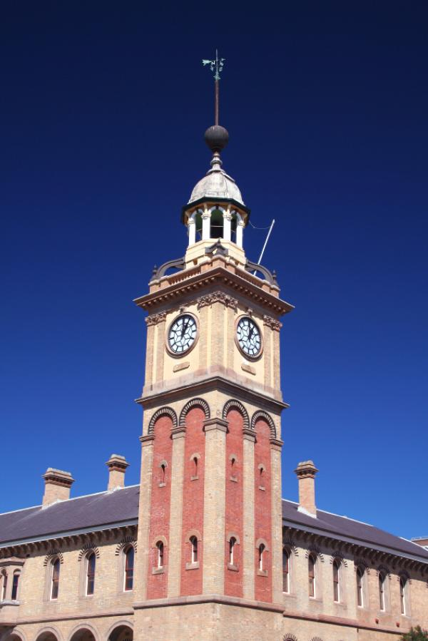 Clock-tower at Newcastle Station. Newcastle, Australia