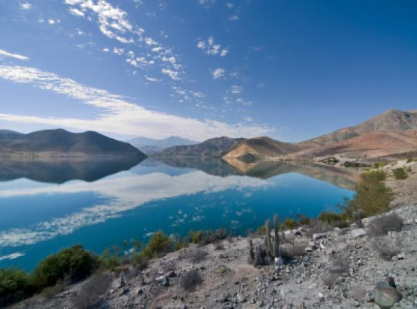 The Puclaro Embalse (reservior) in the Elqui Valley, Chile, on a particularly calm day.