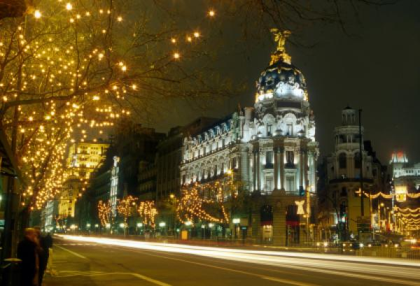Night view of Madrid, Spain.