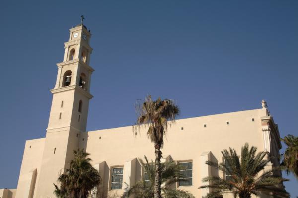 Church clock tower in old Jaffa, Israel