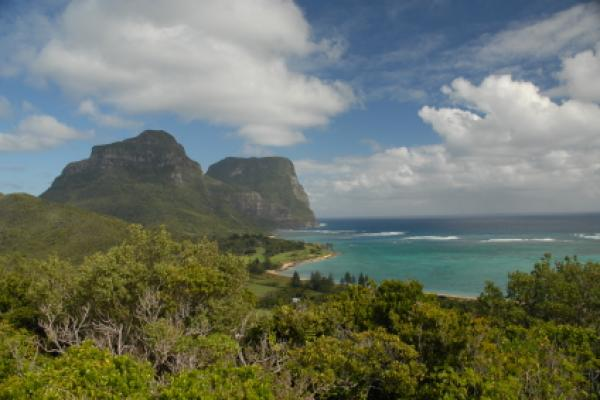 View over Lord Howe Island, Australia.