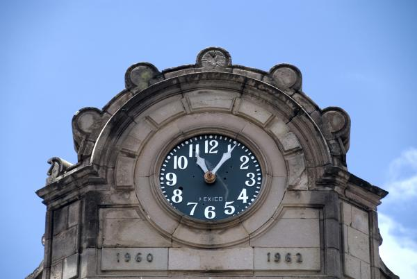 old Black and White Clock Face in Oaxaca, Mexico