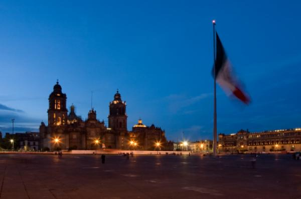 Night view of the central square of Mexico City