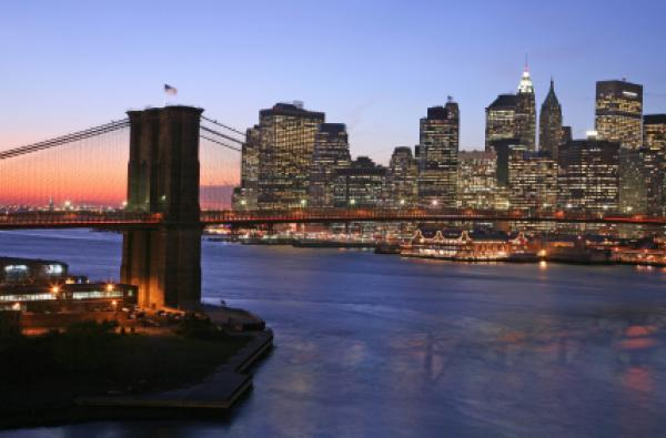 View of Lower Manhattan and East River in winter twilight, NYC, New York