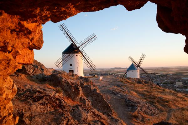 Flour mills on sunrise. La Mancha