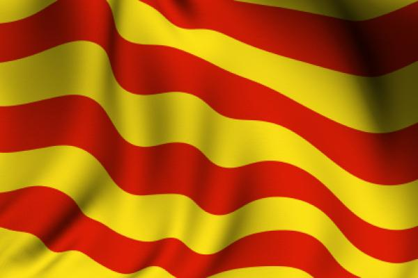 Rendering of a waving flag of Catalunya (Catalonia) with accurate colors and design and a fabric texture.