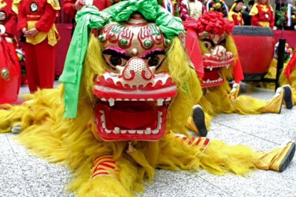 Picture of a typical long dragon float for the Chinese New Year