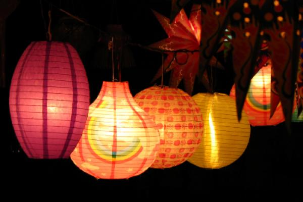 Different colorful skylanterns lit on the occasion of Diwali festival in India