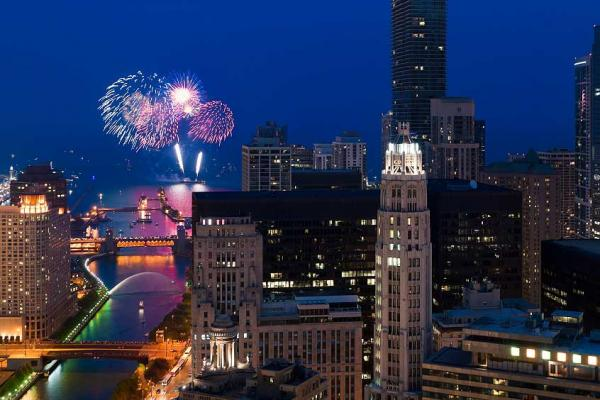 Aerial view of a large fireworks display over the chicago aerial view