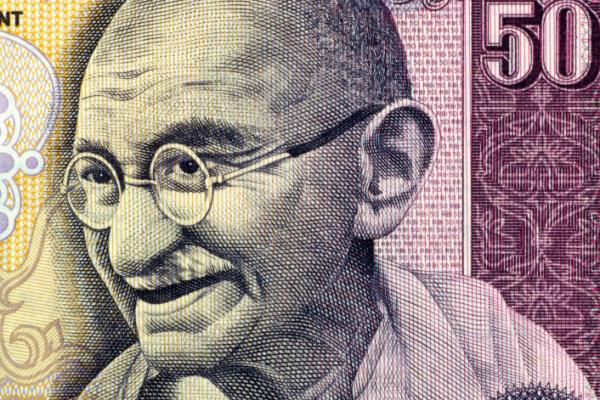 Gandhi on 50 rupees banknote from India