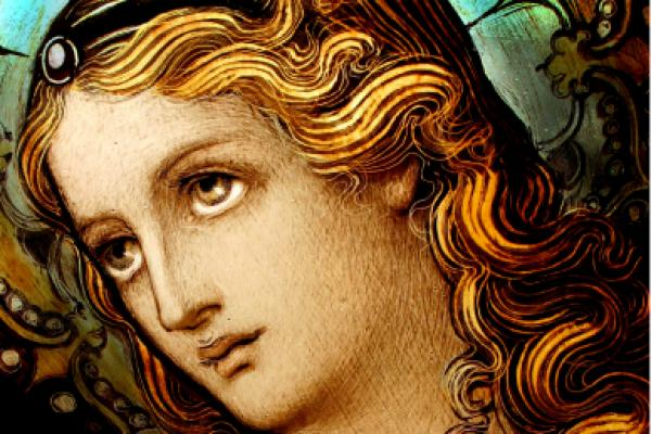 Detail shot of Mary from a stained glass window created in the late 1800&#39;s.