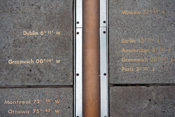 The Greenwich Meridian Line, Longitude 0°, is the centre of world time.