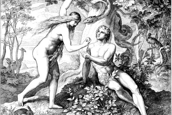 Engraving depicting Adam and Eve