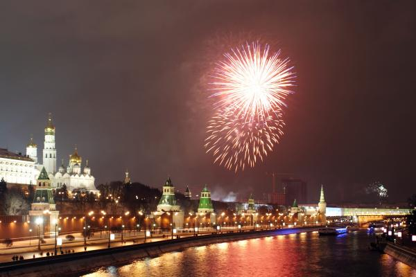 New Year firework in the center of Moscow.