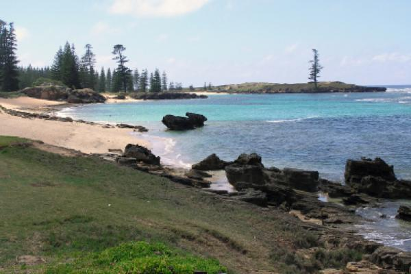 View of one of Norfolk Island's bays on a clear day. 