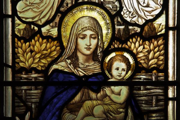 Stain glass representation of the virgin Mary and baby Jesus