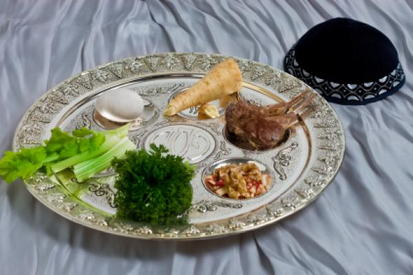 Seder plate seen during Passover