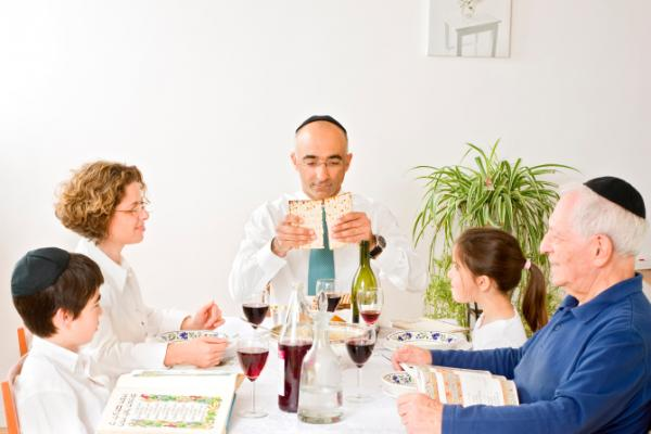 Family celebrating Passover