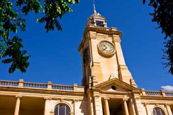 Clocktower of a historical building in Rockhampton, Queensland, Australia.
