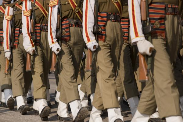 Soldiers of the Indian Army on parade during preparations for the Republic Day Parade in New Delhi, India