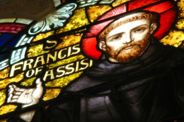 This is a photo of a stained glass portrait of St. Francis.