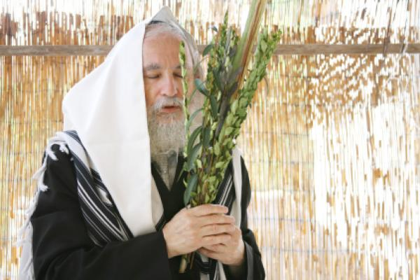 Rabbi holding lulav