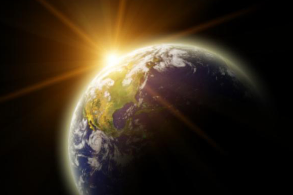Real Earth Planet in yellow sun. Remodeled from real Earth NASA photo
