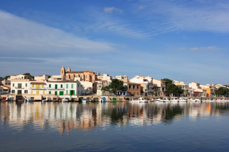 mediterranean village, reflection in water, Porto Colom , Majorca