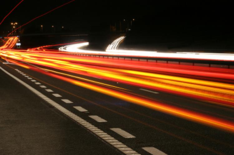 Highway at night, light trails