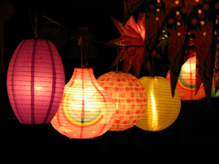 Different colorful skylanterns lit on the occasion of Diwali festival ...
