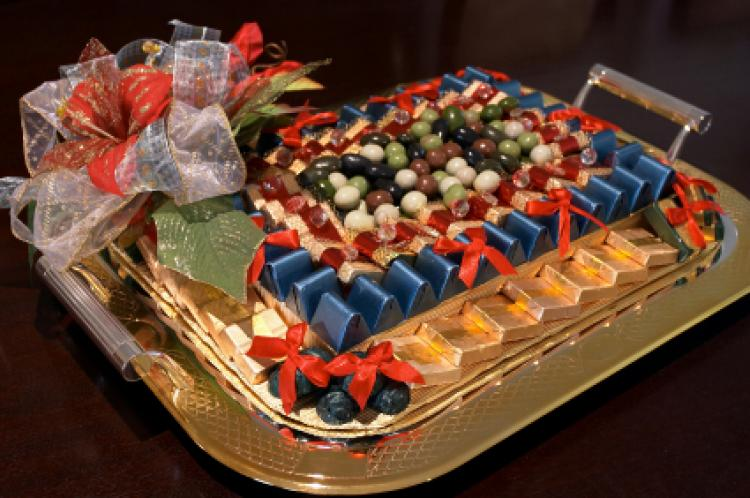 Luxury chocolates presented as a gift.