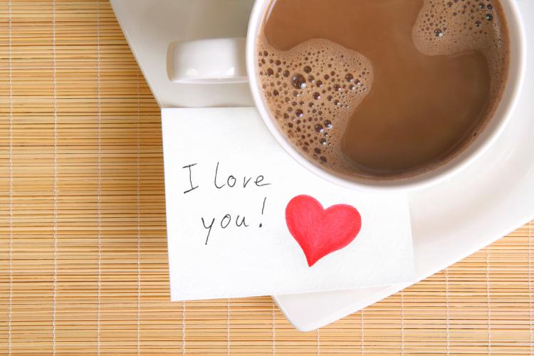 Love note with a cup of coffee.
