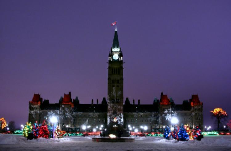 Parliament Hill Canada decorated for Christmas