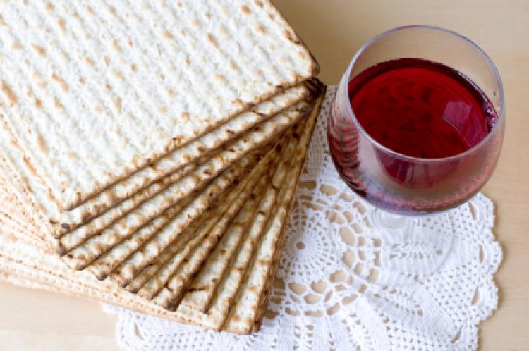 Matzoh and red sweet wine.