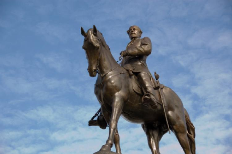 Statue of Robert E. Lee - Civil War General on the famous Monument Avenue of Richmond