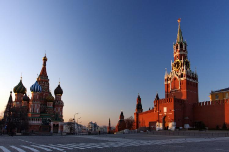 St. Basil's & The Kremlin at Moscow at Night from Red Square