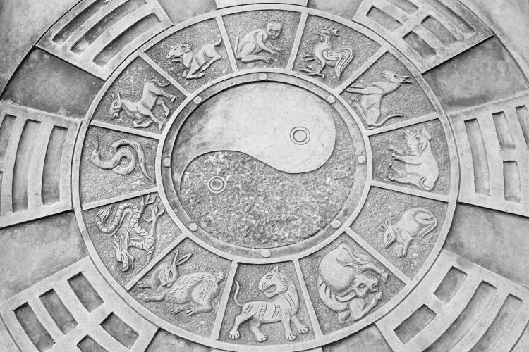 A yin and yang symbol surrounded by the Chinese zodiac pictures on a stone in the ground in Fengjing, China.