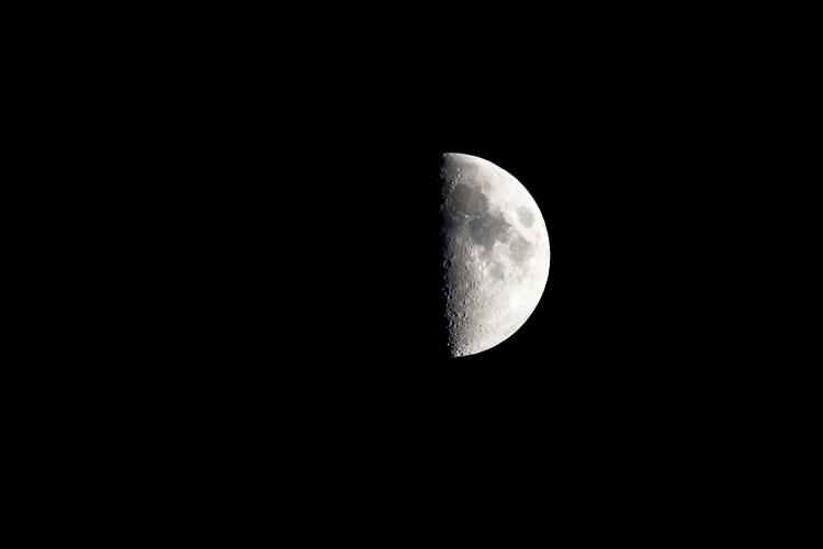 First Quarter Moon in spring (Northern Hemisphere)