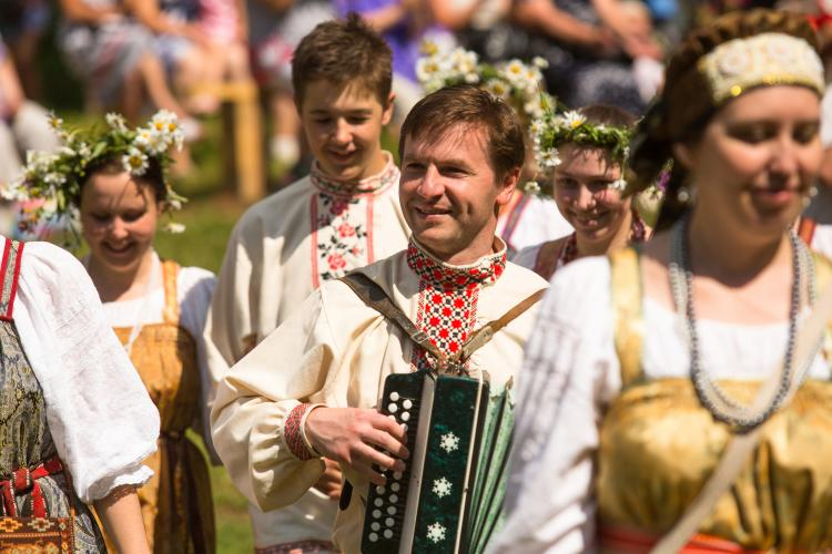 Locals celebrating Ivan Kupala Day in Tervenichi, Russia. The holiday is related to the Summer Solstice.