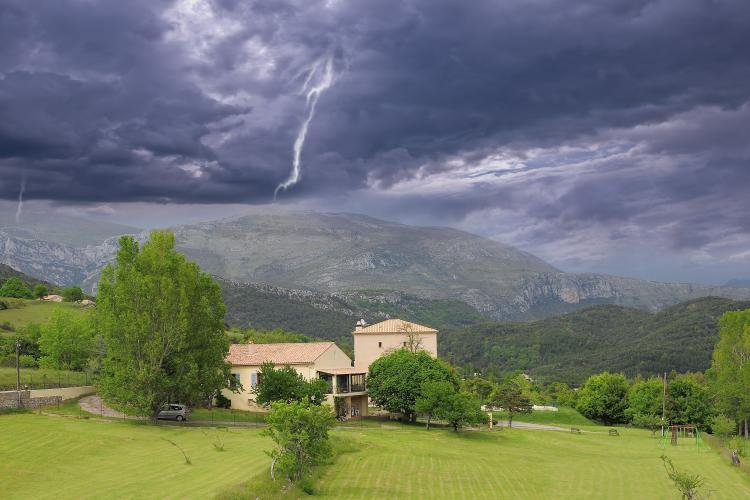 Stormy sky above Provence countryside. South France.