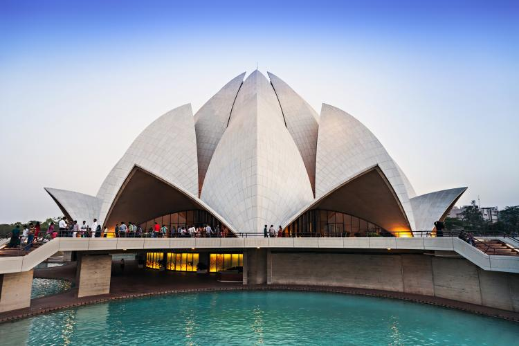 Lotus Temple, Bahai house of worship in New Delhi, India.