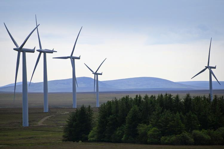 Wind turbines in Caithness, Scotland, Europe.