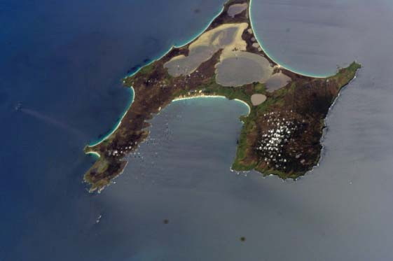 Astronaut photography of Chatham Island, the largest island of the Chatham Islands. 
