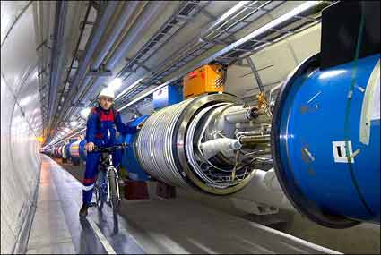 small section of the Large Hadron Collider beneath the Border or France and Switzerland