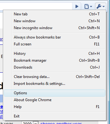 Chrome Cookies - Tools &gt; Options