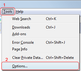 Firefox cookies - Tools > Options