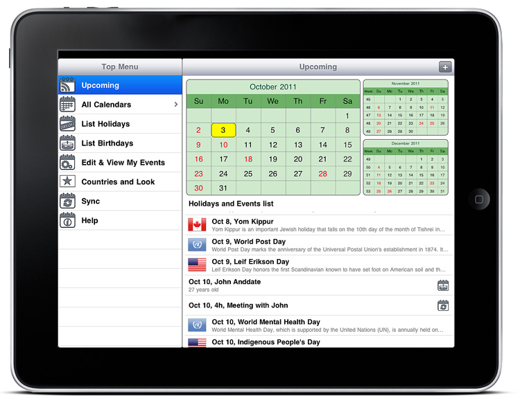 Calendar and Holidays Pro