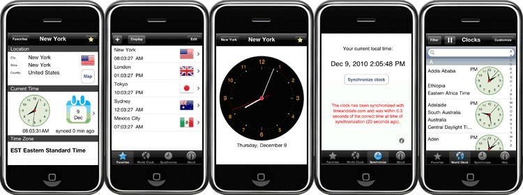 Screenshots of the World Clock-Time Zones App